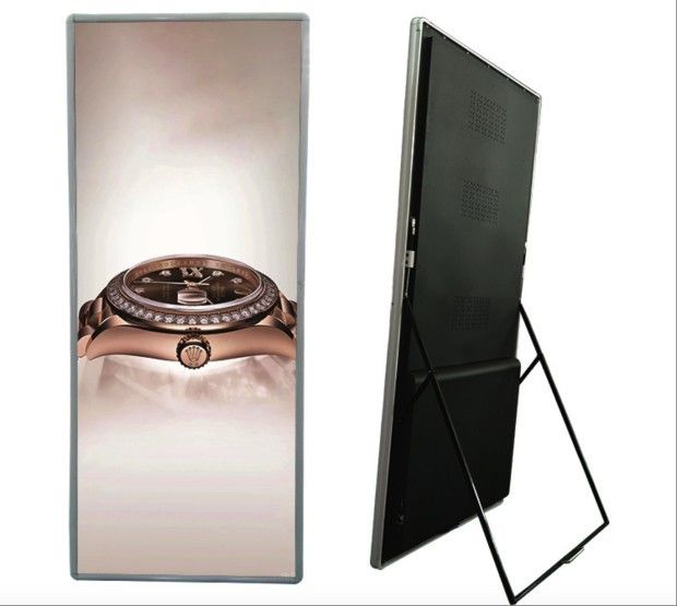 RGB Color LED Poster Display Floor Standing For Supermarket Hotels And Restaurants
